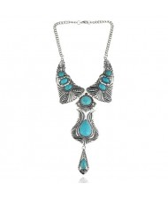 Artificial Turquoise Inlaid Vintage Waterdrop Design Folk Fashion Women Costume Necklace - Teal