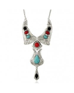 Artificial Turquoise Inlaid Vintage Waterdrop Design Folk Fashion Women Costume Necklace - Multicolor