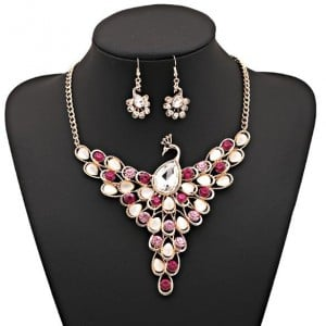 Rhinestone and Opal Embellished Peacock Design Alloy Fashion Costume Necklace and Earrings Set - Rose