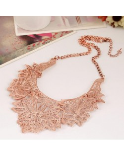 Hollow Floral Pattern High Fashion Women Costume Necklace - Rose Gold