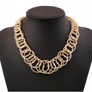 Linked Hoops Bold Fashion Women Statement Necklace - Golden