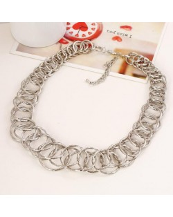 Linked Hoops Bold Fashion Women Statement Necklace - Silver
