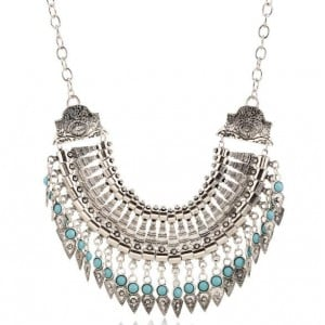 Gem Inlaid High Fashion Rivets Tassel Arch Pendant Chunky Fashion Statement Necklace - Silver
