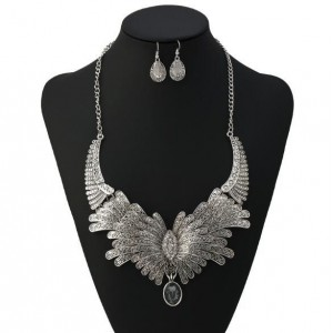 Rhinestone Embellished Feather Inspired Design High Fashion Statement Necklace and Earrings Set - Silver