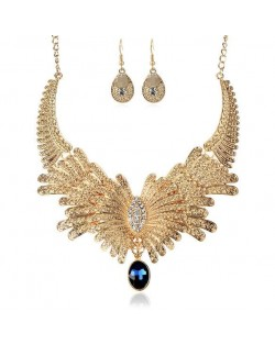 Rhinestone Embellished Feather Inspired Design High Fashion Statement Necklace and Earrings Set - Golden