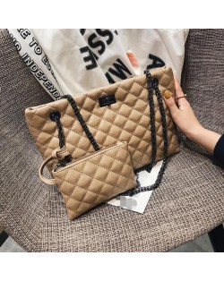 (4 Colors Available) Lattice Stitching Graceful Women High Fashion Handbags Set