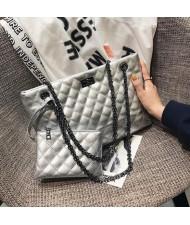 (4 Colors Available) Lattice Stitching Graceful Women High Fashion Handbags Set