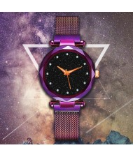 5 Colors Available Starry Night Rhinestone Embellished Dial Magnetic Buckle Costume Wrist Watch