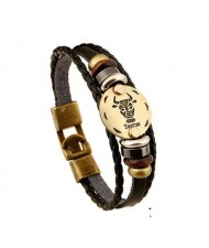 12 Constellation Theme Fashion Leather Bracelet - Taurus