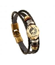 12 Constellation Theme Fashion Leather Bracelet - Pisces