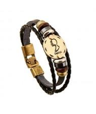 12 Constellation Theme Fashion Leather Bracelet - Gemini