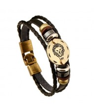 12 Constellation Theme Fashion Leather Bracelet - Leo