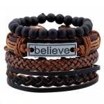 Alloy Plate Decorated Multi-layer Leather High Fashion Bracelet