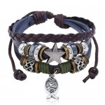 Jesus Fish and Assorted Elements Design Leather Bracelet
