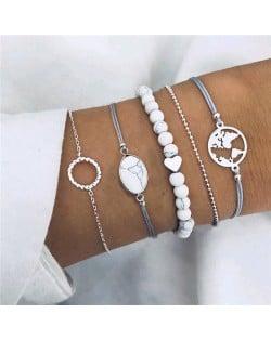 World Map and Beads Assorted Elements 5 pcs Combo High Fashion Bracelet Set
