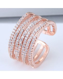 Luxurious Cubic Zirconia Embellished Open Style Rose Gold Color Fashion Bangle