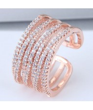 Luxurious Cubic Zirconia Embellished Open Style Rose Gold Color Fashion Ring