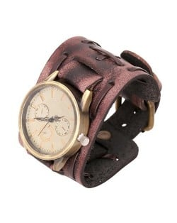 Vintage Dial Punk Fashion Leather Wrist Watch - Brown