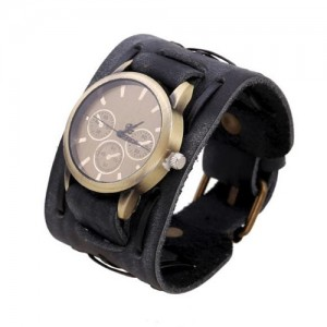 Vintage Dial Punk Fashion Leather Wrist Watch - Black