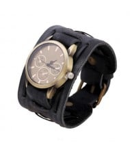 Vintage Dial Punk Fashion Leather Wrist Watch - Black
