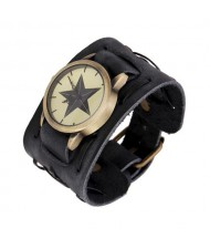 Pentagram Theme Vintage Dial Punk High Fashion Leather Wrist Watch - Black