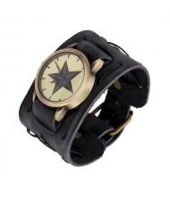 Pentagram Theme Vintage Dial Punk High Fashion Leather Wrist Watch - Black