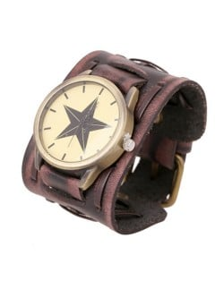 Pentagram Theme Vintage Dial Punk High Fashion Leather Wrist Watch - Brown