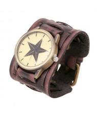 Pentagram Theme Vintage Dial Punk High Fashion Leather Wrist Watch - Brown