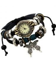 Butterfly Pendant Vintage Design Leather Wrist Watch