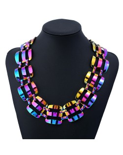Hollow Round Flowers Combo Pendants Design Chunky Fashion Statement Necklace - Blue