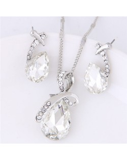 Angel Tears Shining Design Glass Necklace and Earrings Set - White