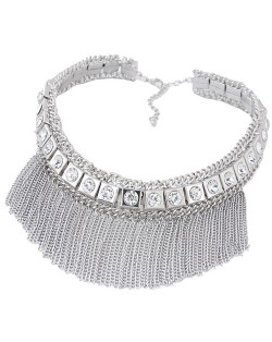 Shining Rhinestone Embellished Squares Tassel Chains Collar Style Costume Necklace