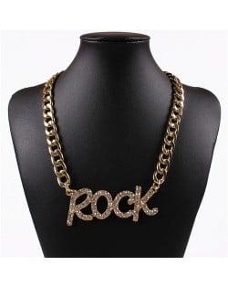 Rhinestone Embellished Rock Pendant Chunky Chain Design High Fashion Necklace - Golden