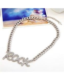 Rhinestone Embellished Rock Pendant Chunky Chain Design High Fashion Necklace - Silver