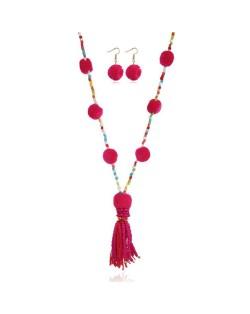 Fluffy Balls Embellished Beads Tassel Design Women Costume Necklace and Earrings Set - Rose
