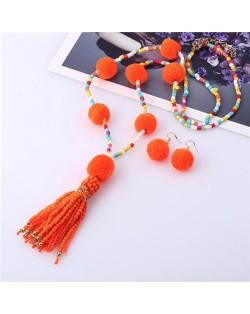 Fluffy Balls Embellished Beads Tassel Design Women Costume Necklace and Earrings Set - Orange