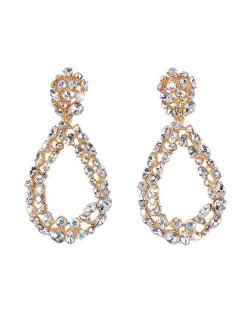 Rhinestone Embellished Hollow Waterdrop Design High Fashion Women Costume Earrings