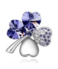 Austrian Crystal and Czech Stones Four Leaf Clover Brooch - Purple