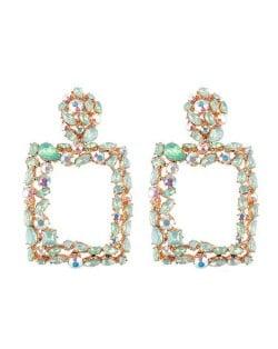Rhinestone Embellished Square Fashion Costume Statement Earrings - Green