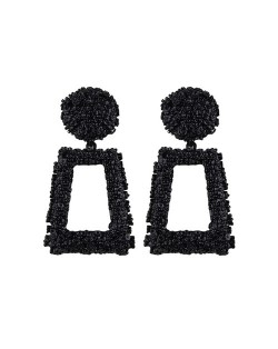 Coarse Texture Floral Geometric Design High Fashion Women Costume Earrings - Black