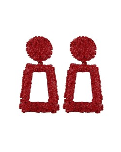 Coarse Texture Floral Geometric Design High Fashion Women Costume Earrings - Red