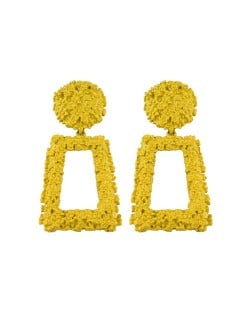 Coarse Texture Floral Geometric Design High Fashion Women Costume Earrings - Yellow