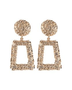 Coarse Texture Floral Geometric Design High Fashion Women Costume Earrings - Golden