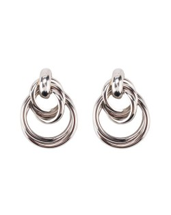 Linked Hoops Triple Layers High Fashion Alloy Earrings - Silver