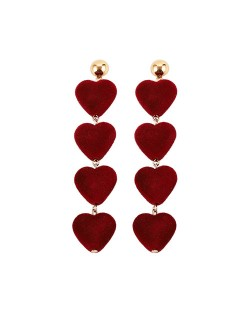Dangling Sweet Peach Hearts Tassel Design Fashion Costume Earrings