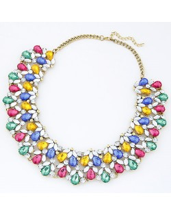 Shining Acrylic Gems Spring Fashion Women Costume Necklace
