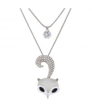 Rhinestone Embellished Fox Head Pendant Cubic Zirconia Dual-layer Fashion Necklace