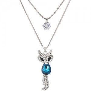 Elegant Fox Pendant Dual-layer Long Chain Style High Fashion Costume Necklace - Blue