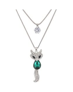 Elegant Fox Pendant Dual-layer Long Chain Style High Fashion Costume Necklace - Green