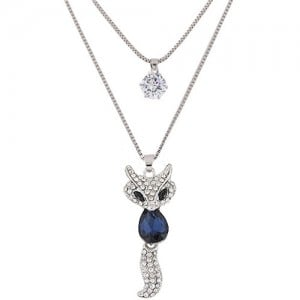 Elegant Fox Pendant Dual-layer Long Chain Style High Fashion Costume Necklace - Ink Blue